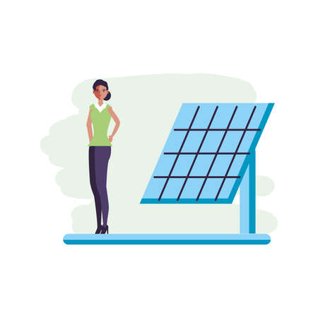 solar panel energy with young woman vector illustration design Çizim