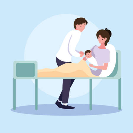 mother with newborn in stretcher and father observing vector illustration design Vector Illustratie