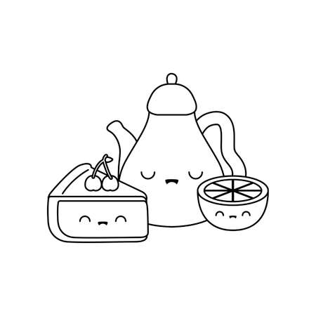 cute teapot with sliced cake and orange style vector illustration design