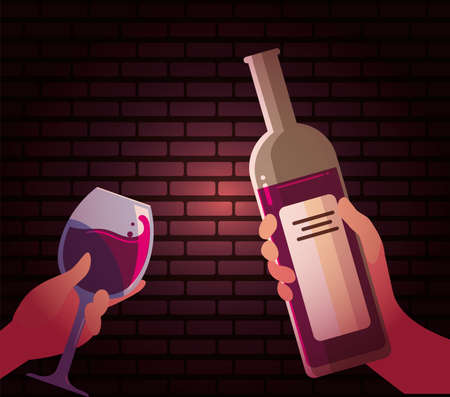 Hands holding wine bottle and cup design, Winery alcohol drink beverage restaurant and celebration theme Vector illustration Vecteurs