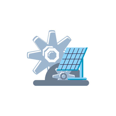 solar panel energy with gears pinions vector illustration design