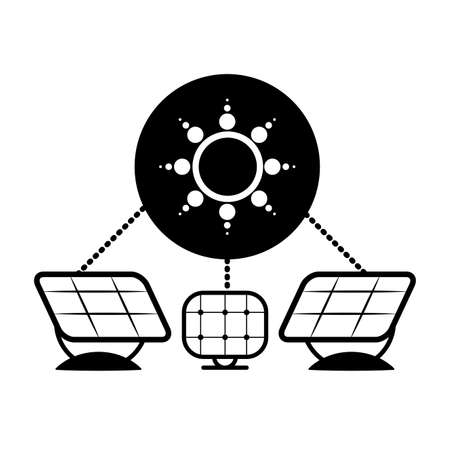 solar panel energy with recycling arrows vector illustration design