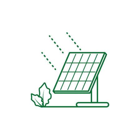 solar panel energy with leafs nature vector illustration design Çizim