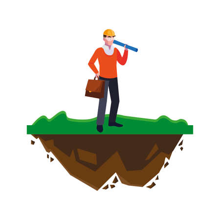 architect builder worker on the lawn vector illustration design