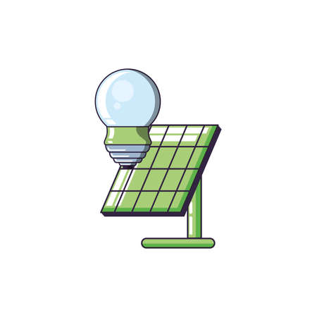 saving bulb electric with solar panel energy vector illustration design Illusztráció