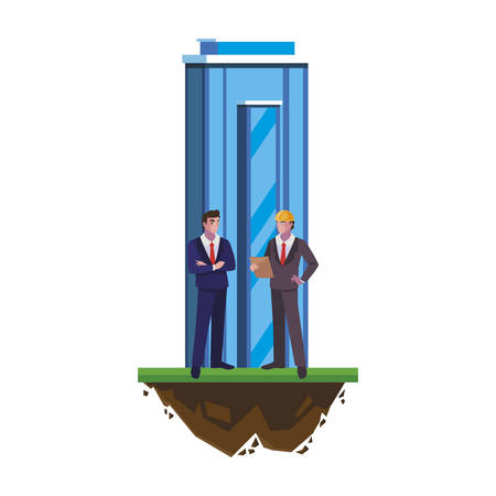 engineers builders workers with building vector illustration design