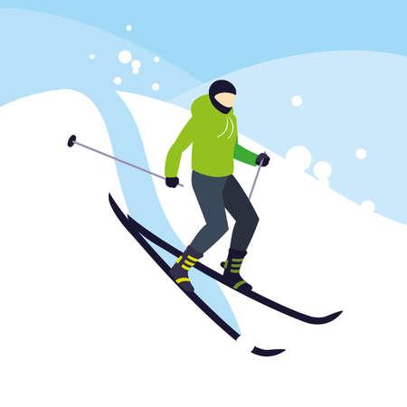 man practicing ice skiing sport extreme vector illustration design Illustration