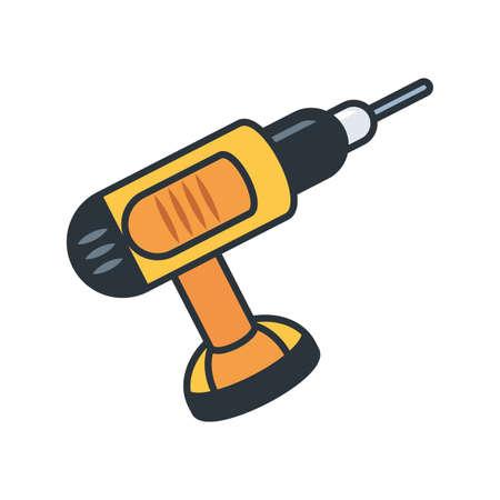 Drill tool design, under construction work repair progress reconstruction industry and build theme Vector illustration Stock Illustratie
