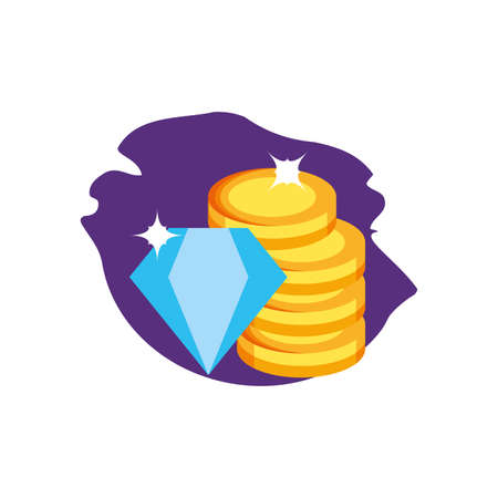 diamond luxury rock with coins money vector illustration design