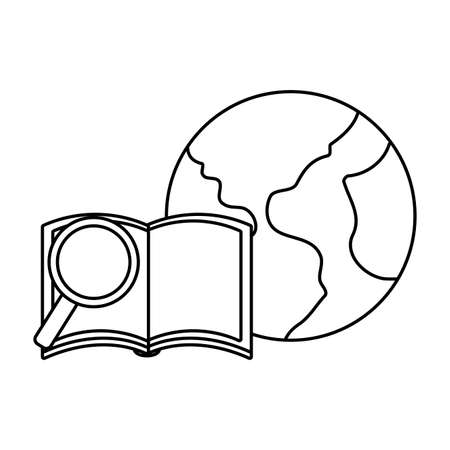 textbook open with planet earth and magnifying glass vector illustration design Illustration