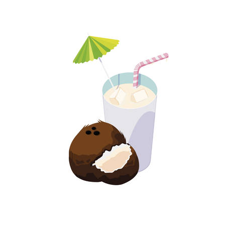 fresh coconut juice fruit cocktail vector illustration design