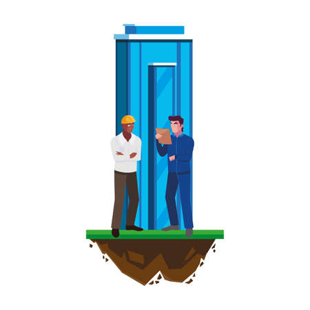 afro male builder with engineer and building vector illustration design Ilustração