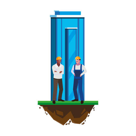 interracial male builders workers with building vector illustration design