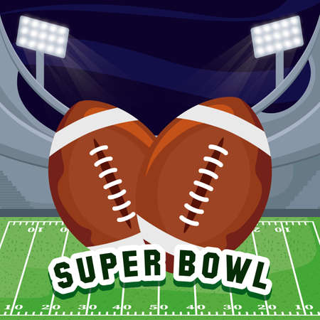 Balls over field design, Super bowl american football sport hobby competition game training equipment tournement and play theme Vector illustration