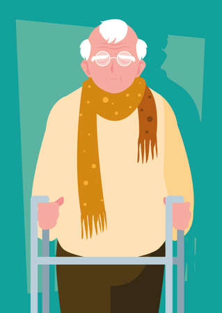 old man with orthopedic walker vector illustration design Vettoriali
