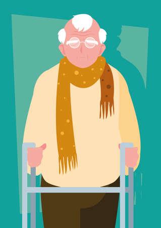 old man with orthopedic walker vector illustration design Illustration