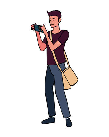 Man with camera design, Device gadget technology photography equipment digital and photo theme Vector illustration Иллюстрация