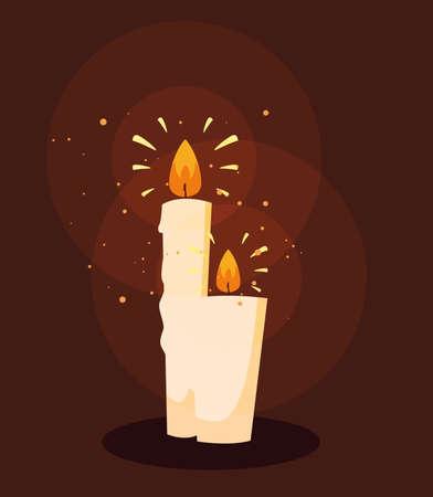 set of halloween candles light vector illustration design