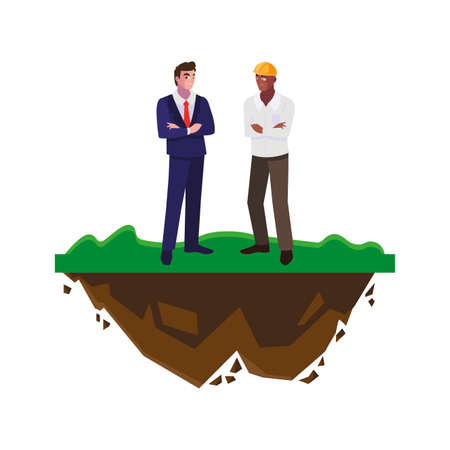 afro male builder with engineer on the lawn vector illustration design