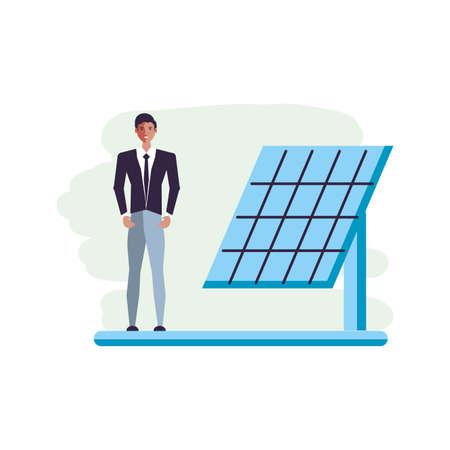 solar panel energy with businessman vector illustration design Çizim