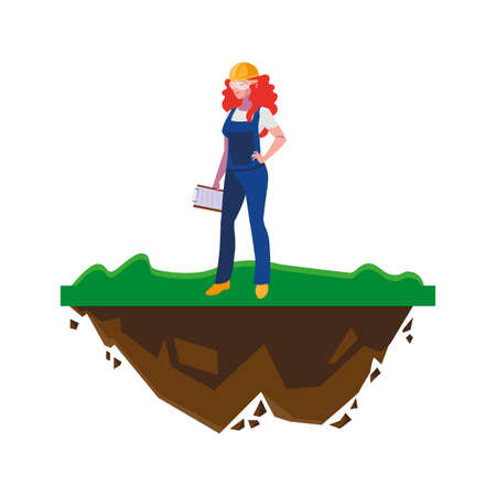 female builder construction on the lawn vector illustration design