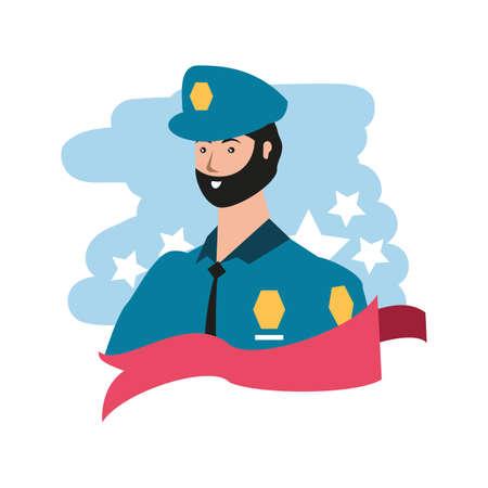 police officer worker avatar character vector illustration design Illusztráció