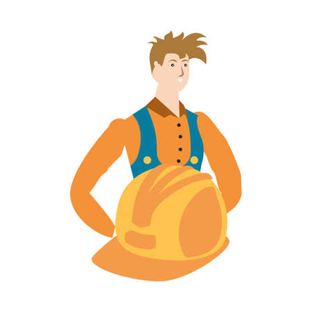 builder constructor worker avatar character vector illustration design