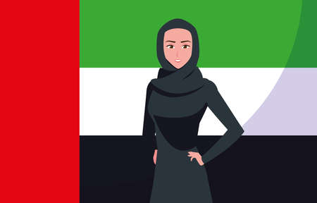 emirati women day poster with woman and flag vector illustration design