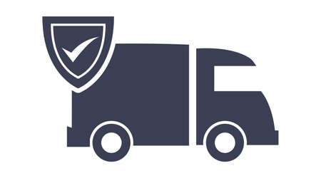 truck delivery fast shipping check mark cardboard boxes vector illustration Ilustracja