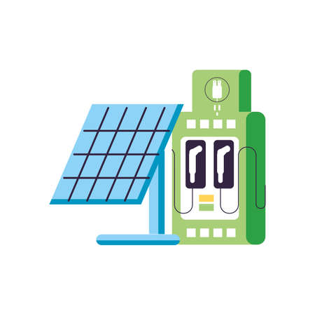 solar panel with station service energy electric vector illustration design
