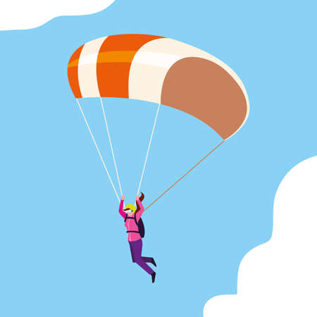 woman skydiver in air with parachute open vector illustration design