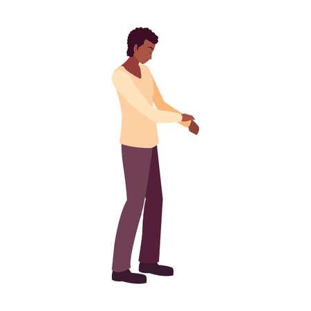 man looking down character white background vector illustration Ilustração Vetorial