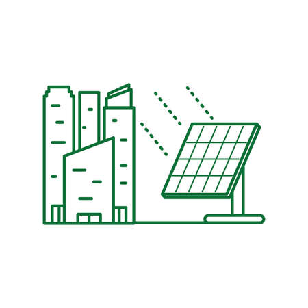 solar panel energy with buildings facade vector illustration design