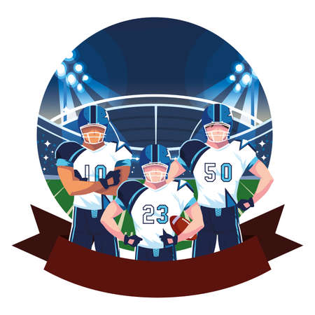 team of players american football , sportsmen with uniform on stadium grass vector illustration design