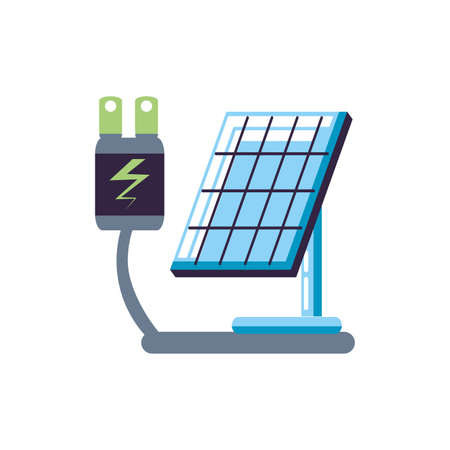 energy plug electric with solar panel energy vector illustration design Illusztráció
