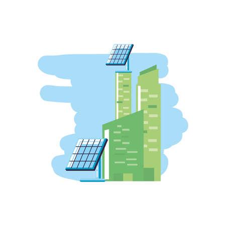facade building urban with solar panels energy vector illustration design
