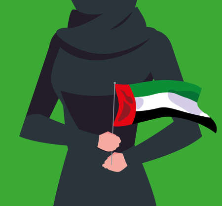 emirati women day poster with body female and flag vector illustration design 일러스트