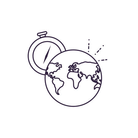 compass guide device with world planet vector illustration design  イラスト・ベクター素材