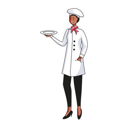 female chef worker avatar character vector illustration design Foto de archivo - 140240079