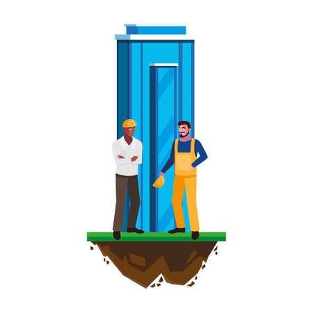 interracial male builders constructors with building vector illustration design