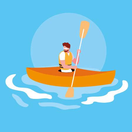 man in kayak extreme sport vector illustration design Çizim