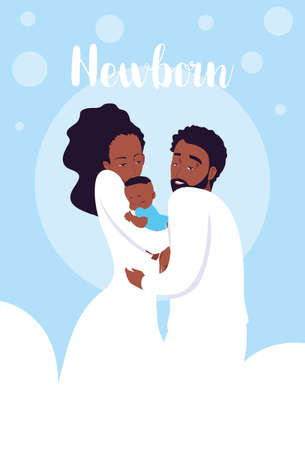 newborn card with parents afro and cute little son vector illustration design
