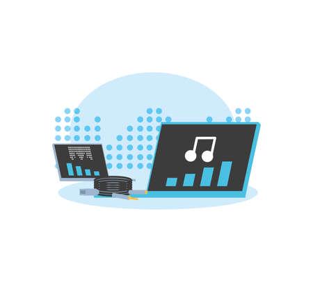 laptop computer media player technology vector illustration design Stock Illustratie