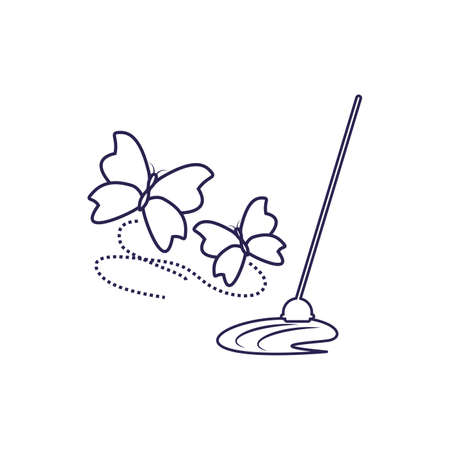 Cleaning mop design, Object home work hygiene equipment domestic and housework theme Vector illustration Archivio Fotografico - 140249385