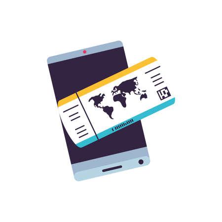 smartphone with ticket travel app vector illustration design Stock Illustratie