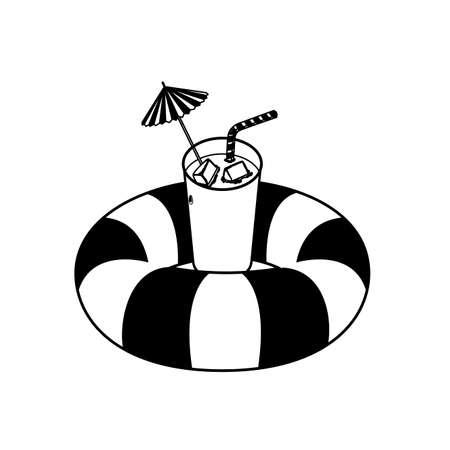 float life guard and summer cocktail vector illustration design