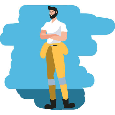 young firefighter worker avatar character vector illustration design