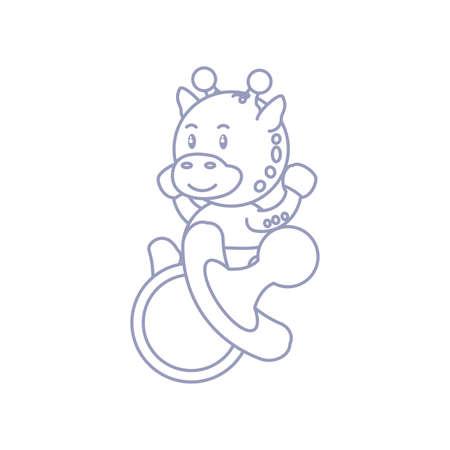 cute giraffe baby animal and pacifier vector illustration design Ilustrace