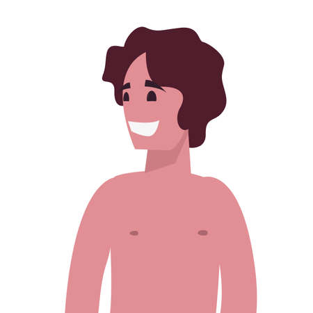 portrait man shirtless character on white background vector illustration