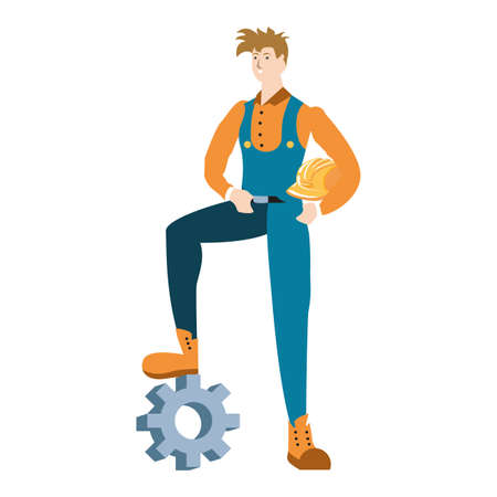 builder constructor worker with gear character vector illustration design